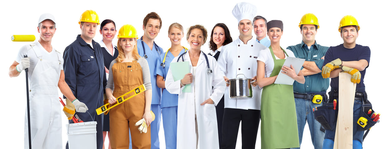 Group photo with doctors, painters,chefs, construction workers, and business men and women.