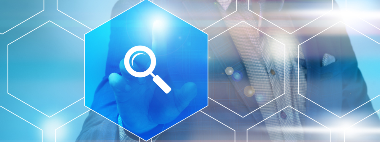 Man tapping finger on floating blue icon with magnifying glass