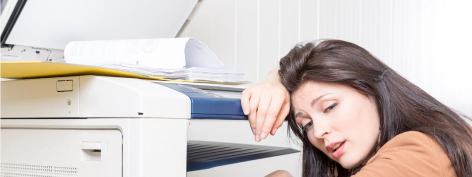 defeated woman, printer